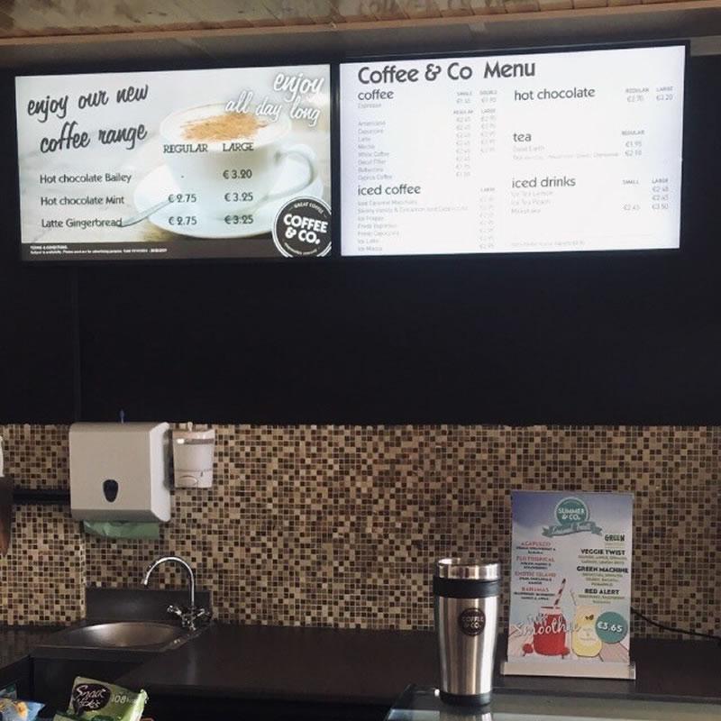 Dekelia Coffee & Co cyprus digital signage by fidelity technology solutions